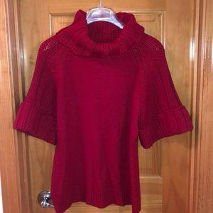 Red shirt sleeve sweater